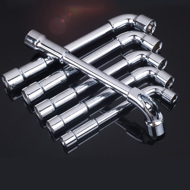 Free Ship New Arrival 6-24mm L Type Pipe Perforation Outer Hexagon Sleeves Wrench Elbow Double Head