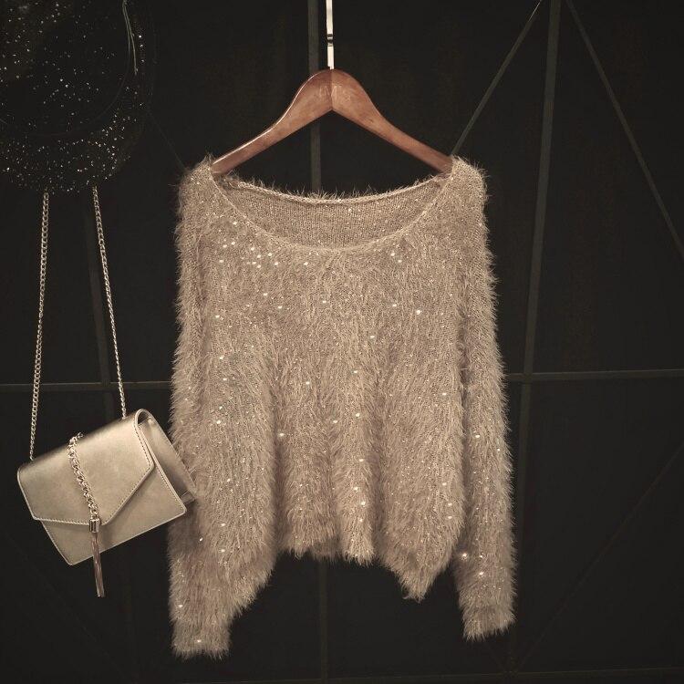 Свитер для женщин и пуловер теплый толстый джемпер зима Размер Дискотека бисера свитера с блестками вязаные из мохера изделия серебро черный розовый зеленый