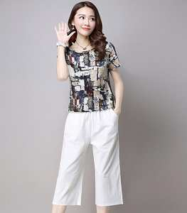 2019 summer printed T-shirt wide leg pants casual two suit