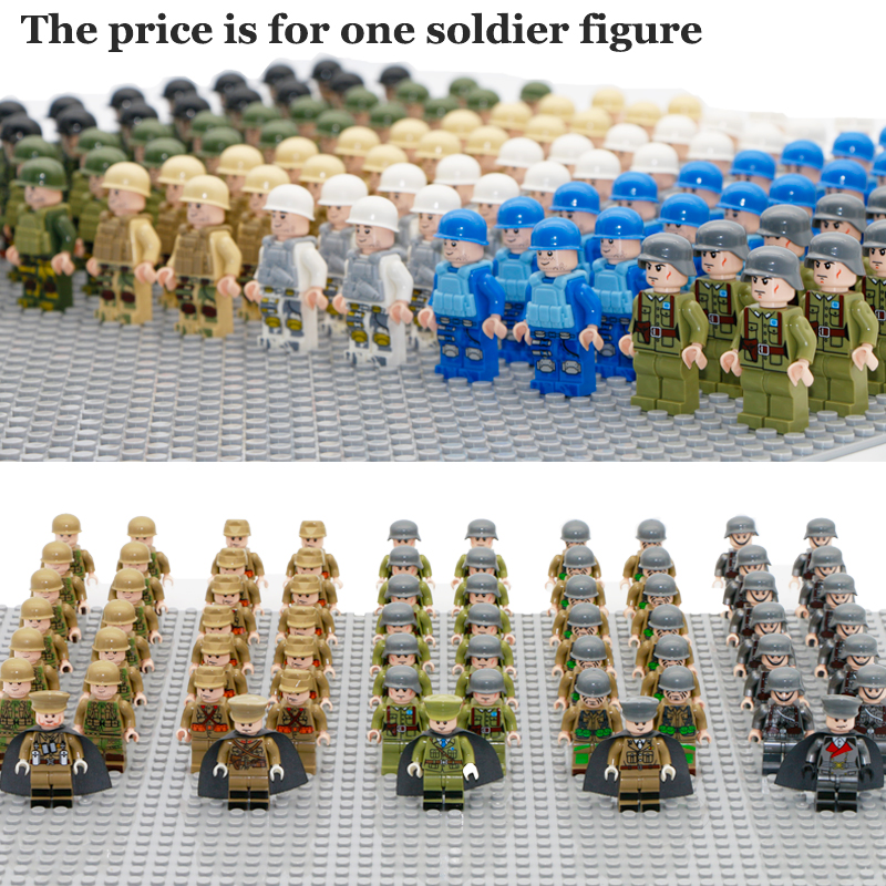 Single Sale Military Army Figures Compatible LegoINGly WW2 Soldier With Weapon Gun Building Block Brick World War II Toy For Boy цена