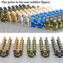 Single Sale Military Army Figures Compatible LegoINGly WW2 Soldier With Weapon Gun Building Block Brick World War II Toy For Boy