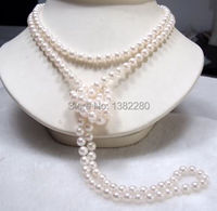 8mm White glass long necklace 46 inch DIY women fashion beautiful jewelry handmade wholesale