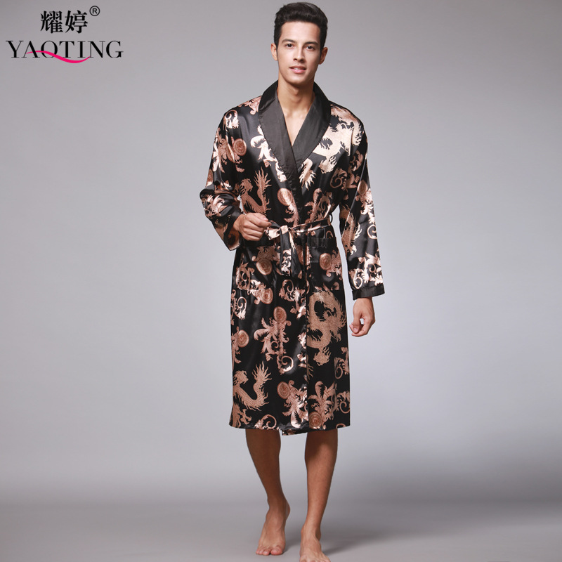 save off order factory outlet US $25.08 |2016 Brand New Summer Spring Men Bathrobe Kimono Robes V neck  Faux Silk Male Sleepwear Nightwear Man Satin Bath Robe-in Robes from ...