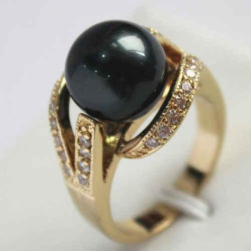 12มิลลิเมตรสีดำมุกแหวนเกรดAAA 4 sizeเลือก01 ^^@^ GPการจัดส่งสินค้า