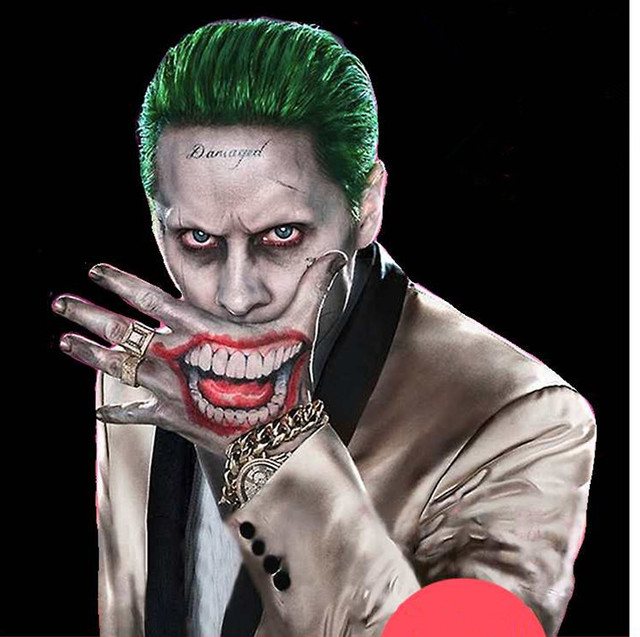 Suicide Squad Joker Costume Tattoo Kit Makeup Temporary Tattoos