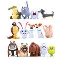 14 UNIDS PVC La Vida Secreta de Mascotas bola de Nieve Gidget Mel Max duque Perros Gatos Conejo Juguetes Figuras de Acción Linda Decoración de Escritorio Regalos