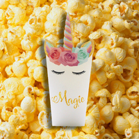 Kid's Party Snack Popcorn Boxes Christmas Unicorn Bag Candy Packing Present Case Disposable Colorful Cinema Snack Paper Boxes