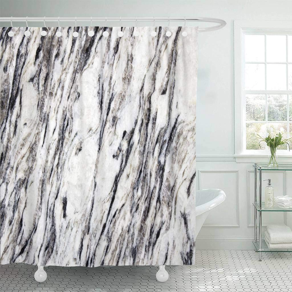 Fabric Shower Curtain With Hooks Gray Architecture Abstract