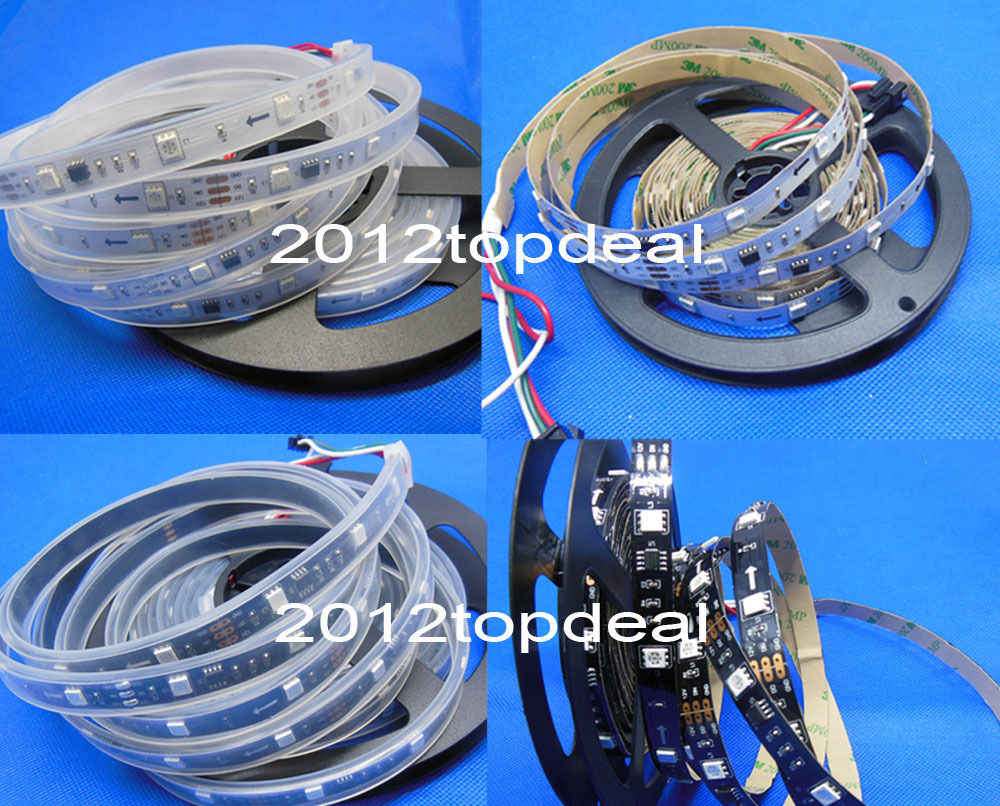 WS2811 5050 RGB LED Strip 1m/5M 150 300Leds Individual Addressable DC12V White/Black PCB, 2811 led strip Addressable Digital