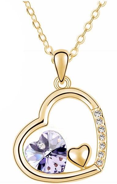 С фабрики Самая низкая цена GP Мода австрийский кристалл океана сердце ожерелье кулон Модные ювелирные изделия 83004 - Окраска металла: gold  violet