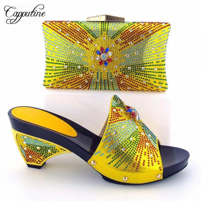 Negro El Capputine Rhinestone 43 37 Partido amarillo Tamaño royal Conjunto Mujer Bolsa Bajos Africano Nigeriano Y Amarillo Para Estilo plata Blue Zapatos Tacones PrqUx8AP