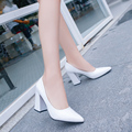 2017 New Fashion Spring size 34-39 High Heels Pumps Sexy Bride PU Women shoes Square Heel Pointed Toe High Heels Shoes women