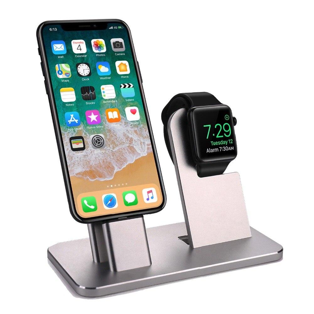 Зарядная док станция 2 в 1, держатель для iPhone 10X8 7 6s Plus, алюминиевый кронштейн, держатель для зарядного устройства для часов Cha