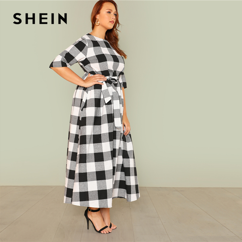 7f84a22696 SHEIN Self Belted Gingham Dress 2018 Summer Round Neck Half Sleeve Plaid  Retro Maxi Dress Women Plus Size Casual Dress-in Dresses from Women's  Clothing on ...