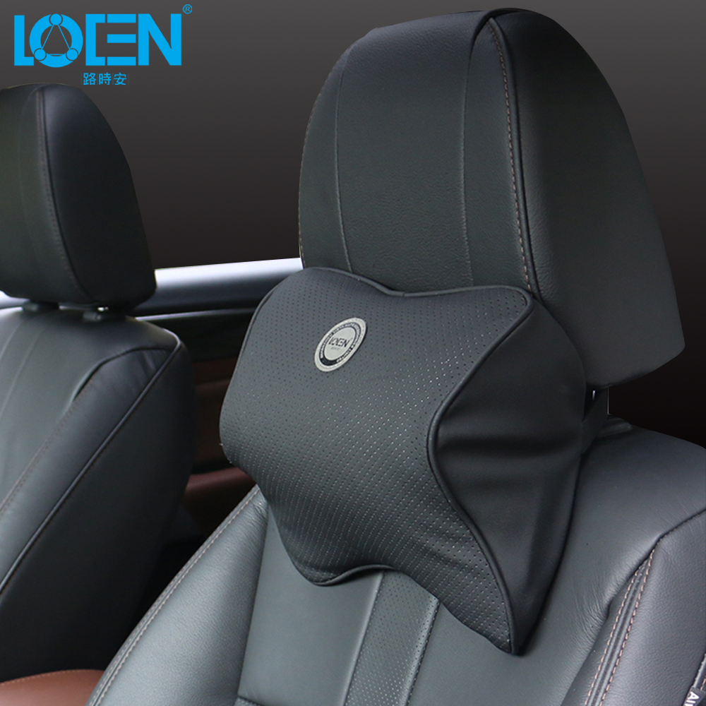 loen leather space memory foam car seat neck pillow car headrest pillow auto safety accessories. Black Bedroom Furniture Sets. Home Design Ideas