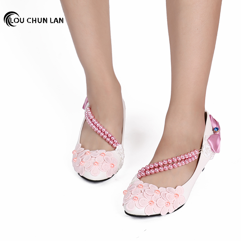 LOUCHUNLAN Woman Shoes Pumps Pearl Chain White/Pink/Purple Bow Wedding Shoes White 3cm/5cm Heel Fashion Elegant Woman Shoes