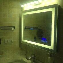 Светящееся настенное умное зеркало для ванной комнаты, роскошное светодиодный зеркало для макияжа, сенсорное интеллектуальное антиразмытое серебряное зеркало с Bluetooth