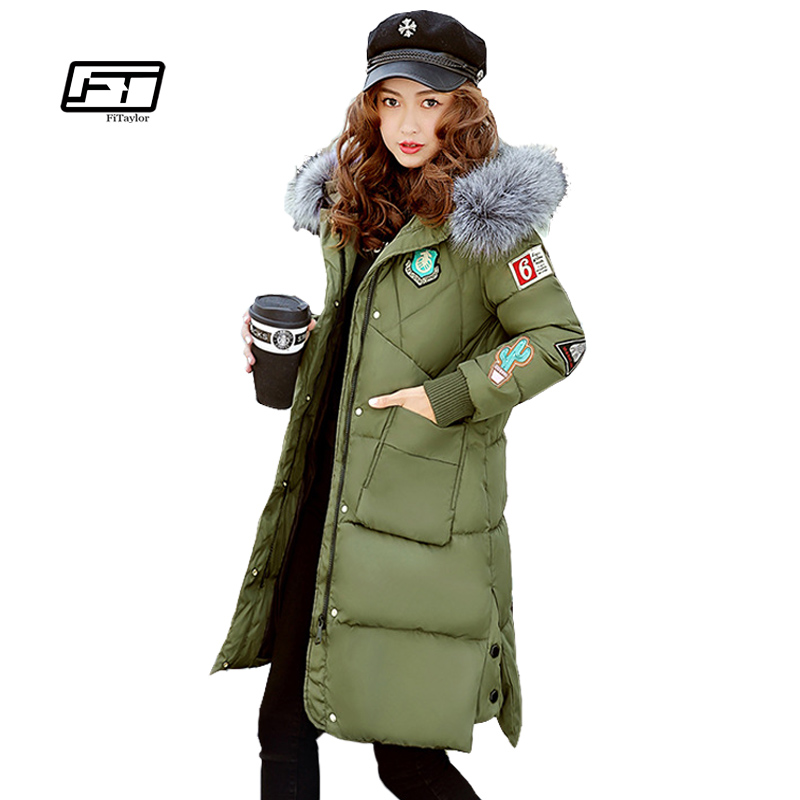 Fitaylor Big Fur Collar Women Long Winter Slim Coat Female Warm Hooded Jacket Womens Plus Size Down Parka Cotton Coats Parkas women elegant winter warm long coat down padded jacket slim fur collar hooded parka coats 2017 female slim long parka with belt