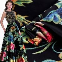 Splendor digital inkjet printing peony heavy silk stretch satin cheongsam silk fabric clothing material free shipping