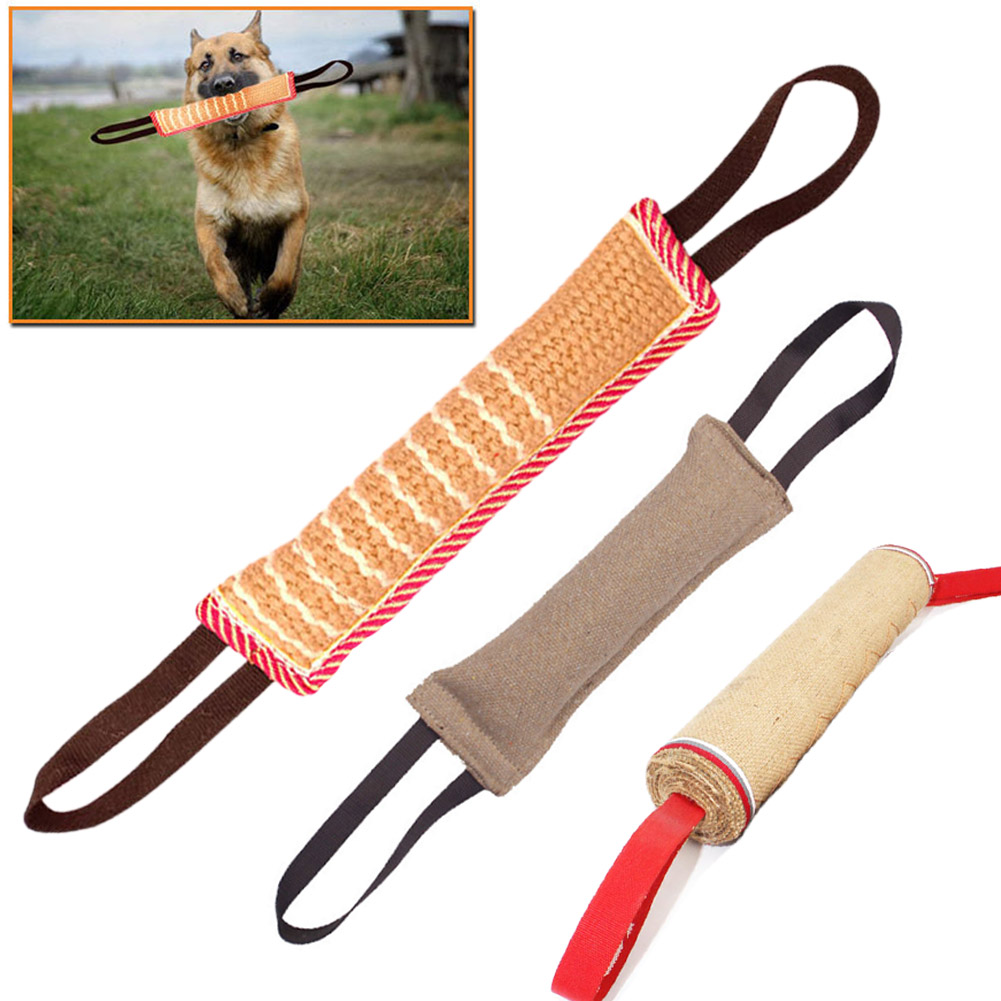 Pet Dog Tug Toys Bite Pillow Strong Pull Toy Dog Training With 2 Rope Handles Bite Tooth Cleaning Toy Puppy Supplies
