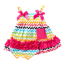 Infant Baby Girl Summer Clothes Rainbow Outfits Sets Stripe Vest Tops + Ruffle Pp Shorts Baby Clothes Beach Suit недорого