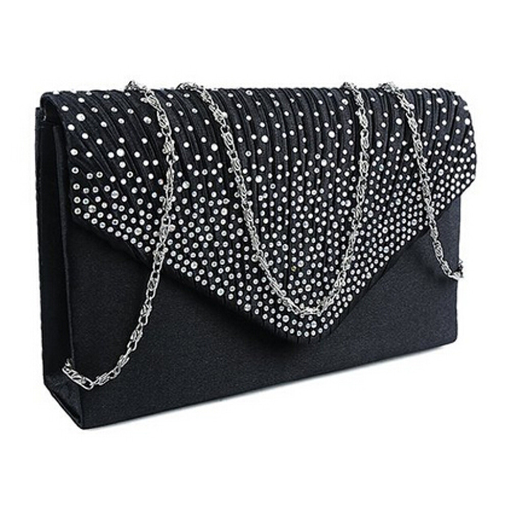 Ladies Clutch Envelope-Bag Crossbody-Bags Square Satin Diamond Party Mini Evening Women title=