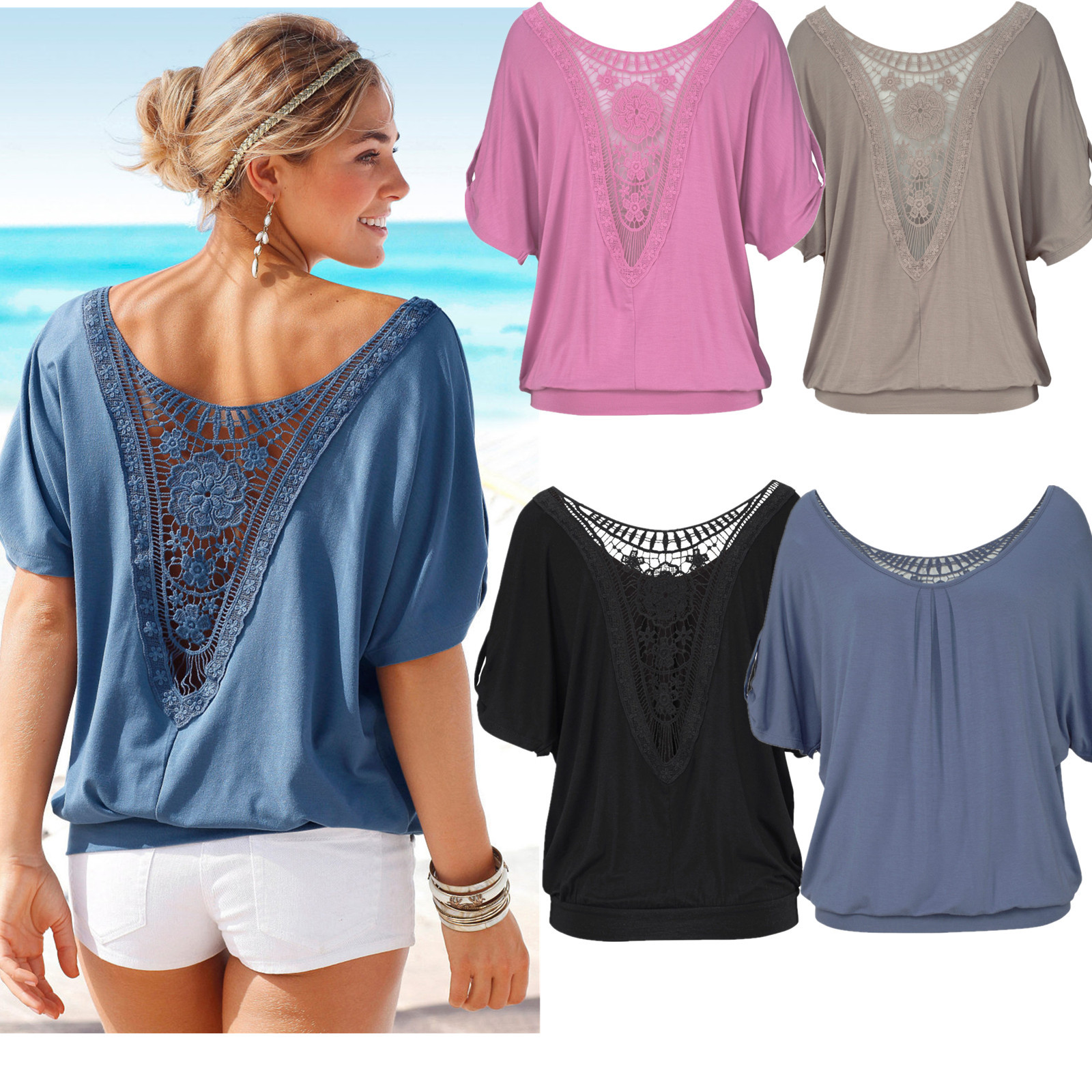2017 Womens Summer New Fashion loose sleeve T-shirt Lady Lace Sexy T-shirt