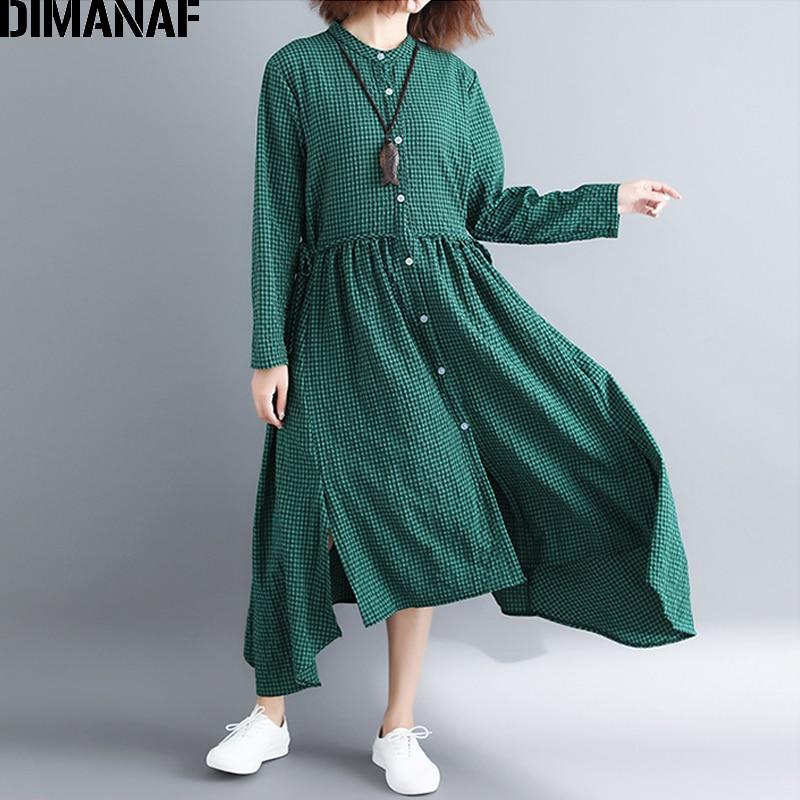 DIMANAF Women Dress Plus Size Linen Sashes Femme Elegant Vestidos Plaid Print Pleated Loose Cardigan 2018