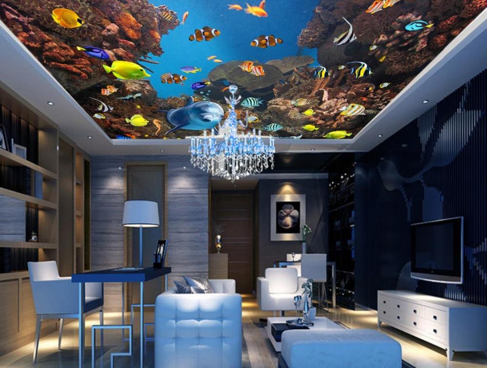 3D Wallpaper Fr Decke Europischen Stil Unterwasserwelt Fisch 3d Stereoskopische Tapete Kinderzimmer Schallisolierten Decken