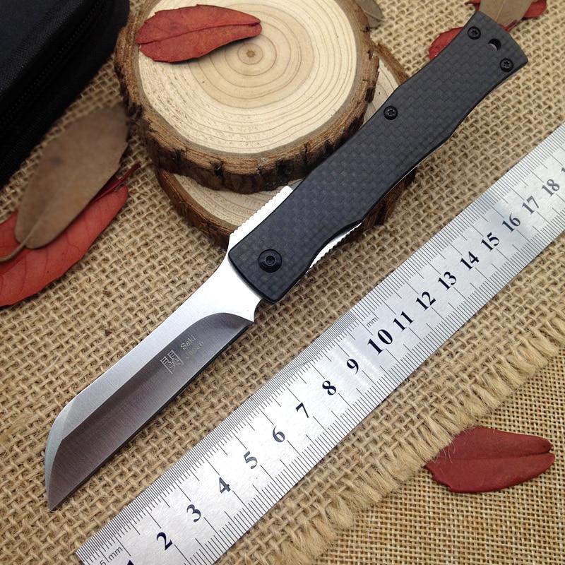 Best Japan Razor D2 Steel Folding Knife Outdoor Utility Pocket Knives Hunting EDC Hand Tools Carbon Fiber Handle Real Knifes