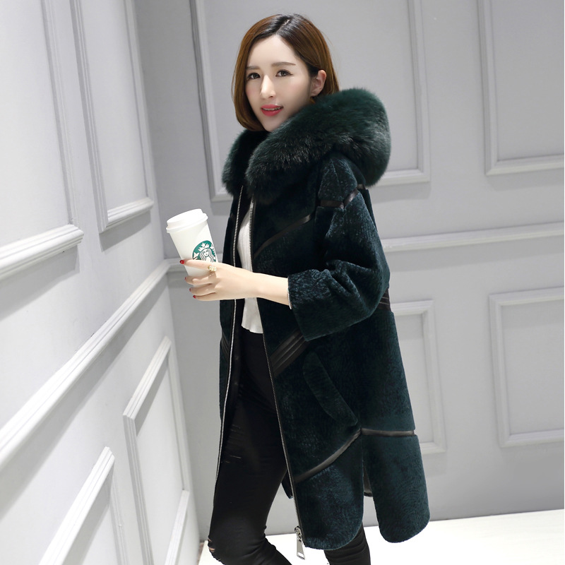 Real Fur Coat Streetwear Fox Fur Collar 100% Wool Jacket Autumn Winter Coat Women Clothes 2019 Korean Vintage Sheep Shealring