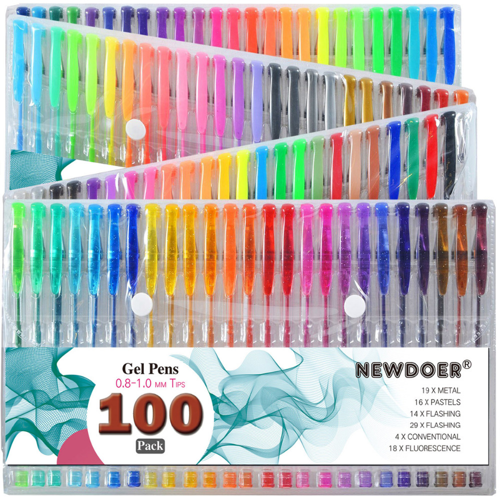 100 Color/ Set Gel Colored Pens with Foldable Case for Adults Coloring Books, Drawing Glitter, Neon, Symhony, Milky & Metallic100 Color/ Set Gel Colored Pens with Foldable Case for Adults Coloring Books, Drawing Glitter, Neon, Symhony, Milky & Metallic