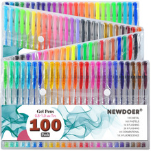 100 Color/ Set Gel Colored Pens with Foldable Case for Adults Coloring Books, Drawing Glitter, Neon, Symhony, Milky & Metallic