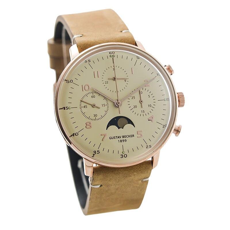 Густав Беккер мужские Ретро Механический хронограф наручные часы форма для выпечки Чайка 1963
