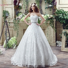 Romantic A-Line Wedding Dresses Sweetheart Neck Appliques Lace Bridal Gown 2019 Sleeveless Beaded Sashes Bow Back robe de mariee