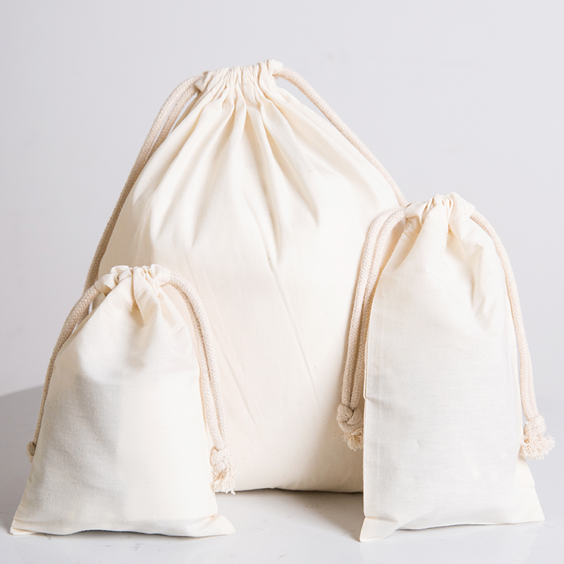 Cotton Environmental Reusable Women Men Travel Shopper Tote Storage Bags Drawstring Shopping Bag Large Solid White Canvas