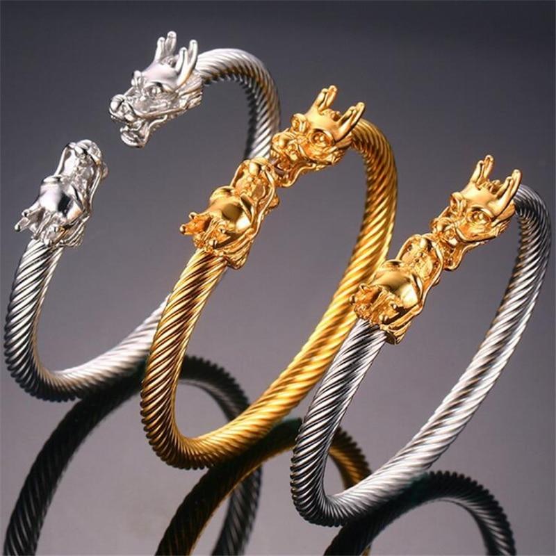 Titán dupla sárkány fejek Mandzsetta karkötő Férfi Arany színű rozsdamentes acél huzal karkötők Karkötők Divat Férfi Ékszerek pulseira