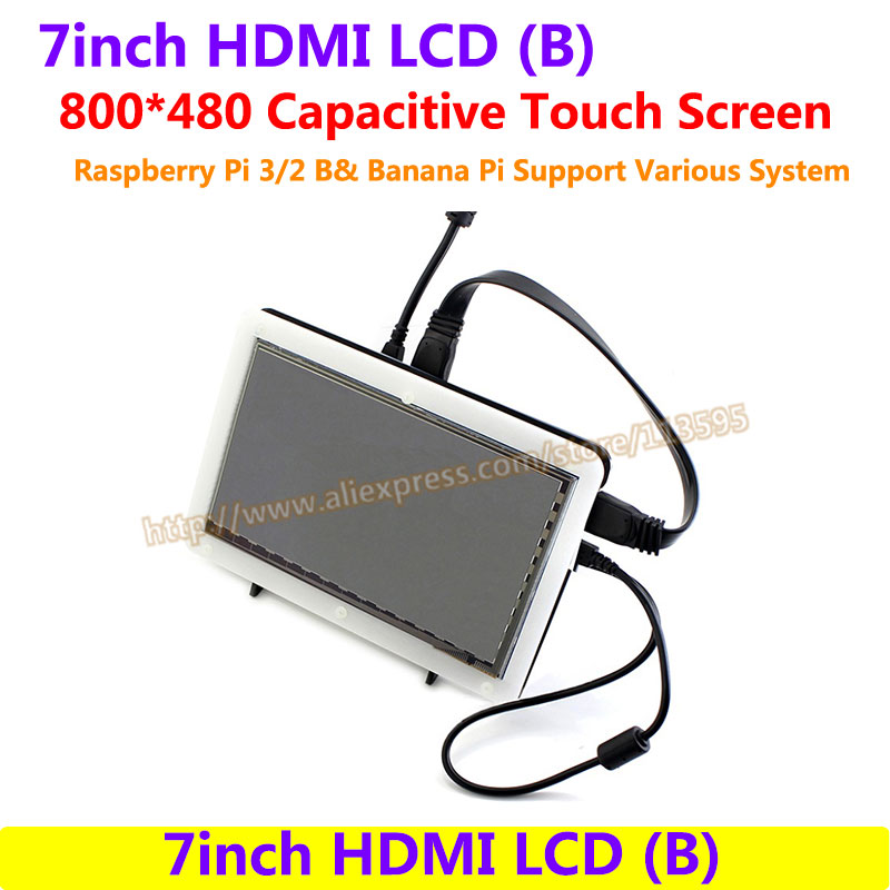 все цены на 7inch HDMI LCD Capacitive Touch Screen Display Shield Panel for Raspberry Pi Beaglebone Black Banana pi Supports Various System онлайн