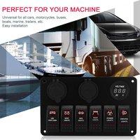 6 ギャング防水 RV 車マリンボート回路ブレーカ LED ロッカースイッチパネルデュアル USB 充電器シガーソケット