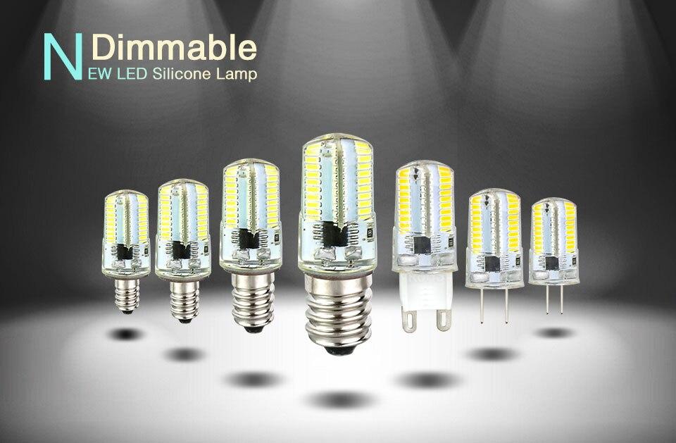 Silicone LED Corn Bulbs E11 E12 E14 E17 G4 G8 G9 LED Bulb Lamp 220V 110V  (1)