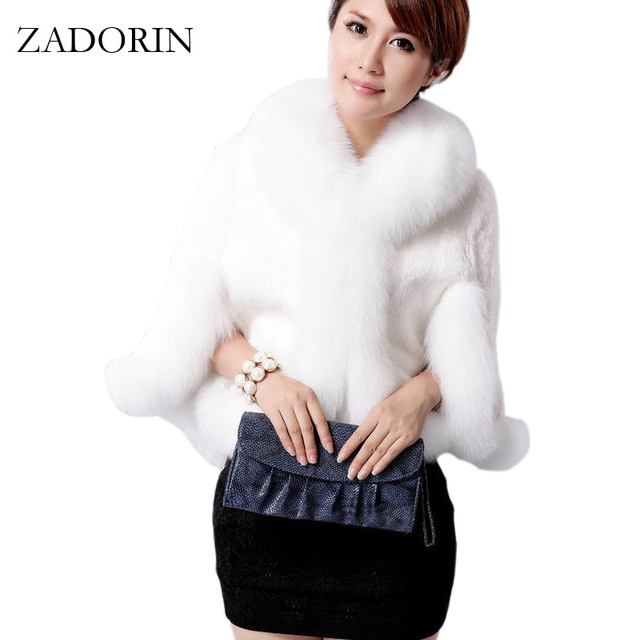 68b23e7c417 High Quality Luxurious Winter Women Faux Fox Fur Coat Wedding Bride Faux Fur  Poncho gilet fourrure