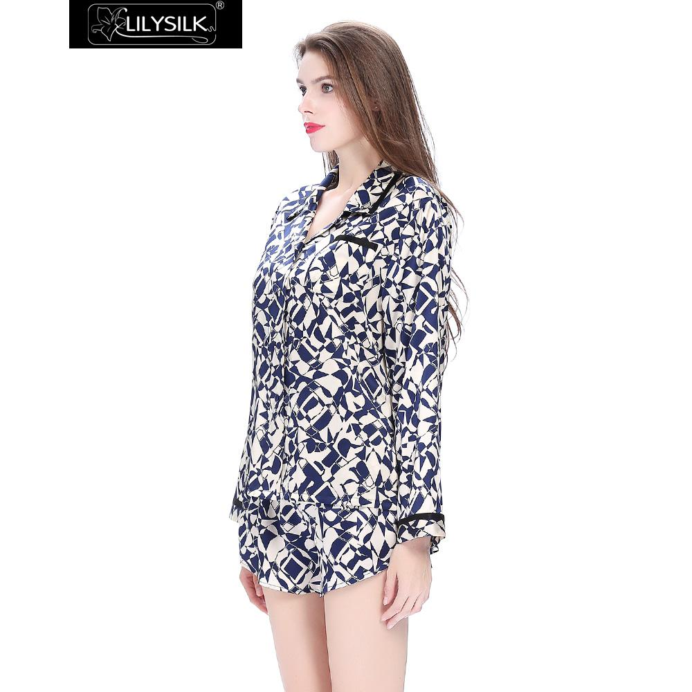 04d80453881a03 R$ 947.51 |Lilysilk Seda Pijamas Com Shorts Manga Comprida Pure Blusas  Camisa Set Mulheres Pijamas Nightie Homewear Inverno Geométrica 22 Momme em  ...