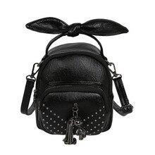 Vintage Bag Tassel and Imitation Diamond Messenger Bag for Women Classic PU Black Crossbody Bag Fresh Cute Fashion Mini Handbag cute bear print and tassel design crossbody bag for women