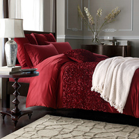 American style luxury and fashion 100% silk cotton satin red rose embroidery 4 piece bedding sets quality princess wedding set