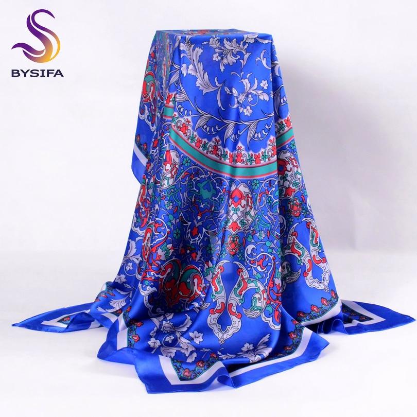 [BYSIFA] Ladies Silk Scarf Shawl Spring Autumn Women Large Square Scarves New Accessories Blue Silk Head Scarf Cape 110*110cm