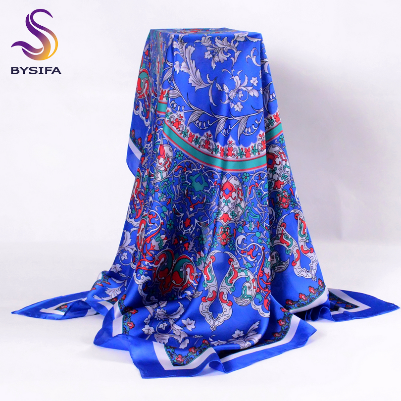 [BYSIFA] Ladies Silk Scarf Shawl Spring Autumn Women Large Square Scarves New Accessories Blue Silk Head Scarf Cape 110*110cm
