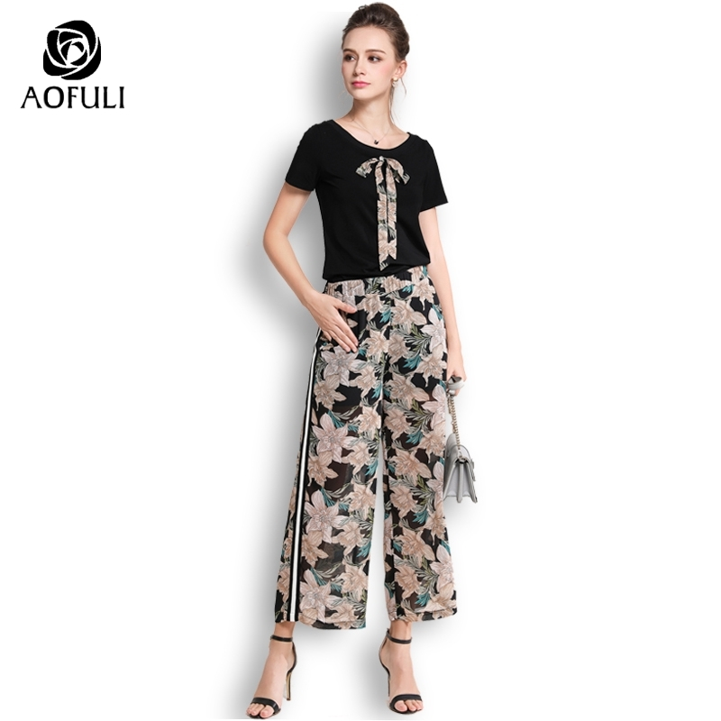 AOFULI 5XL Plus Size Pants Suit 2 Pieces Women Set Black Cotton Tops Floral Print Chiffon