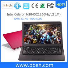 freeship Bben 14.1Inch Notebook Intel Celeron N2840 Quad Core Windows10 FHD 1920*1080 4GB RAM 32GB EMMC 500G HDD laptop Computer