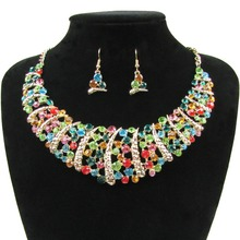 Fashion Wedding Sets Full Rhinestone Necklace and Earring Sets For Women Bridal Wedding Jewelry Sets NER