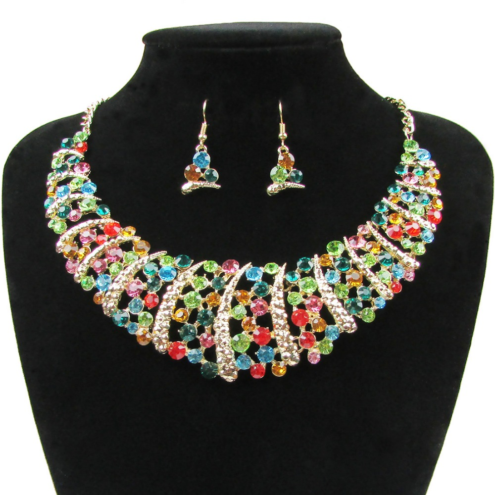 Fashion Wedding Sets Full Rhinestone Necklace and Earring Sets For Women Bridal Wedding font b Jewelry